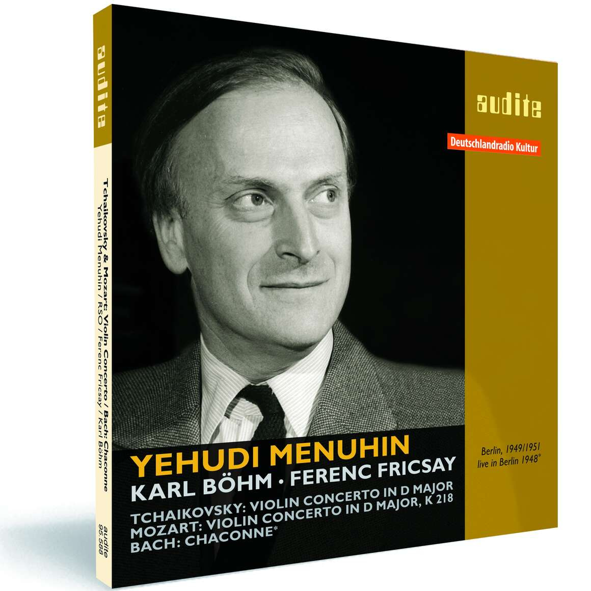 Yehudi Menuhin plays Tchaikovsky: Violin Concerto, Mozart: Violin Concerto K 218 & Bach: Chaconne from Partita No. 2